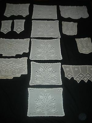 vintage & antique hand worked FILET lace doily chair protector lot (18 pc)