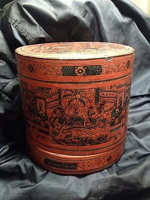 Burmese Bamboo Lacquer Antique Betel Nut/lunch box Container