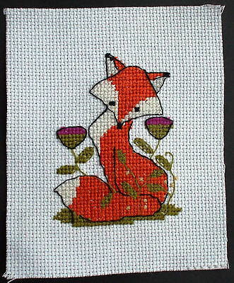 Completed Cross Stitch  Fox