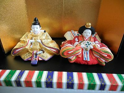 Beautiful Composition of a Ceramic Japanese Pair in Traditional Wedding Robe