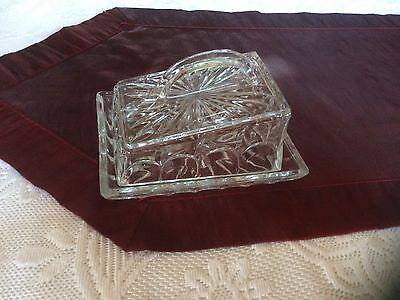 Vintage retro large glass butter/cheese dish.