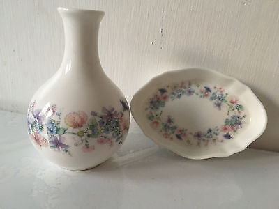 "Wedgewood China ""Angela"" Posy vase and Small Dish"