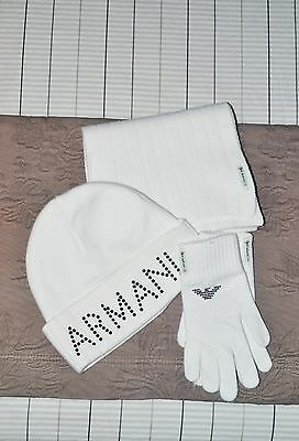 Authentic ARMANI JUNIOR Girls's Off White a Winter Set of Hat, Scarf and Gloves