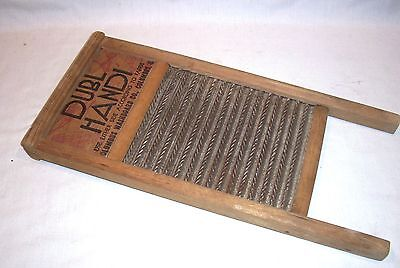 Vintage DUBL HANDI Double Sided Washboard Wood Metal Laundry Item Displays Great