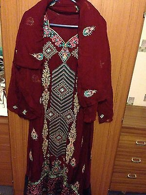Ladies Asian Maroon Georgette Material Size Medium Salwar Kameez & Dupatta