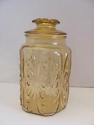 "Mid Century Tall 8"" Amber Pattern Glass Canister"