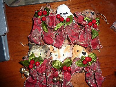 Vintage Dog and Cat Christmas Ornaments