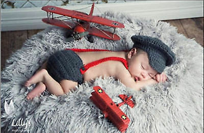 HOT-Newborn Baby Girls Boys Crochet Knit Costume Photo Photography Prop Outfits