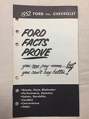 1952 Ford Salesman Brochure Ford vs Chevrolet