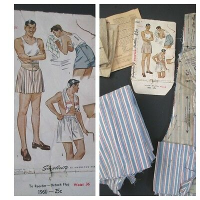 VTG 1940s Sewing Pattern Mens Boxer Shorts w/Unfinished Fabric WAIST 36