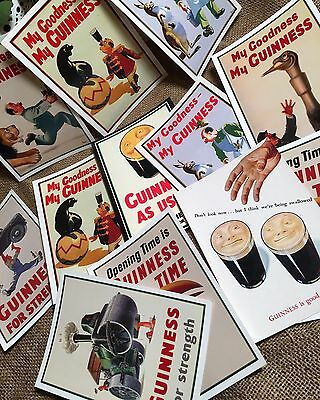 Collectable Guinness Advertising Post Card Set Of 12. Vintage Style.