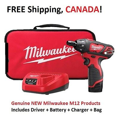"""MILWAUKEE M12 1/4"""" Hex Cordless Screwdriver KIT (BATTERY + CHARGER +BAG) 2401-21"""
