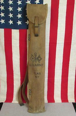 "Vintage US Army WWII Signal Corps Flag Kit 25"" Canvas Bag Military Semaphore"