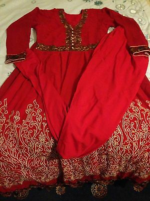 Ladies Asian Red Georgette Material With Crepe Lining Size Medium Salwar Kameez