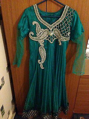 Ladies Asian Turquoise Size Medium Lace Material Salwar Kameez With Dupatta