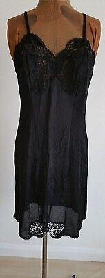 "1960's True Vintage Debroyal black full slip/petticoat lace trim 38"" bust (sz14)"