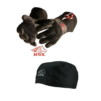 Revco BSX BS50 Large MIG Gloves and Black Cotton Beanie Bundle
