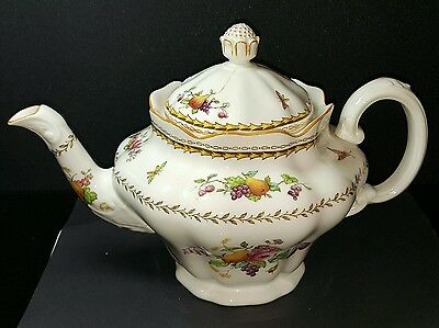 Spode Rockingham bone china teapot fruit and insects