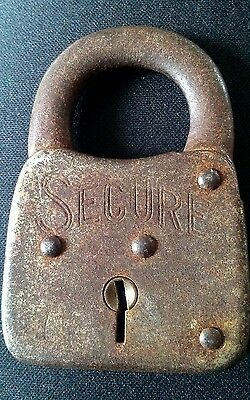 Old Vintage Antique Secure Padlock, Made in the USA, No Key