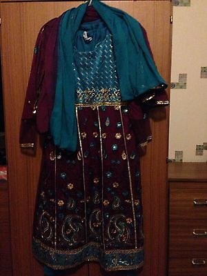 Ladies Asian Net & Velvet Material Turquoise & Maroon Salwar Kameez And Dupatta