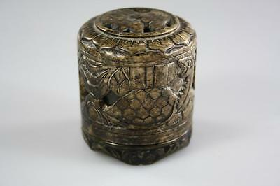 CHINESE VINTAGE CARVED SOAP STONE LIDDED BOX marked