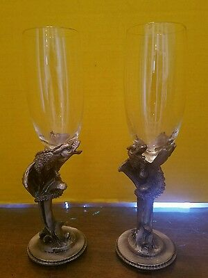 Vintage Pair of Pewter Dungeons Dragons & Wine Champagne  Glass Glasses