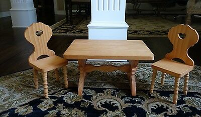 AMERICAN GIRL DOLL KIRSTEN TRESTLE TABLE & CHAIRS RETIRED Pleasant Company EUC