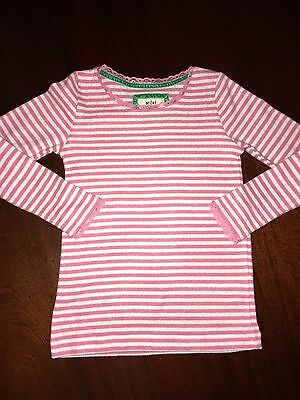 NWT 7/8 Mini Boden L/S Pink Striped Pointelle Tee w/ Lace Accents