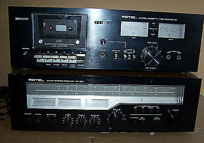 Rotel RX-304 AM/FM Stereo Receiver RD-18F Cassette Player Black Face Set Repair