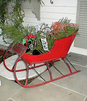 Antique Child Sleigh Carriage Victorian Sled Wood Iron  Holiday Display Decor
