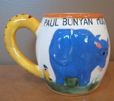 PAUL BUNYAN CUP WITH BABE THE BLUE OX 1955 Geo. Z. Lefton Vintage Mug