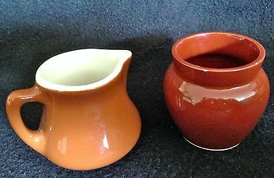 H.F. COORS Chefsware Pottery Small Brown Creamer & Sugar Server for Coffee/Tea