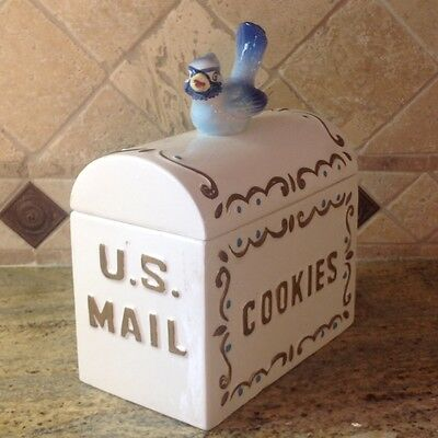 Vintage Enesco Blue Bird US Mail Box Cookie Jar EXTREMELY RARE!!!