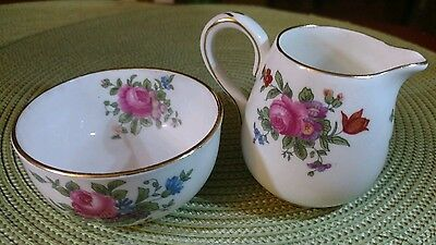 Crown Staffordshire Creamer & Sugar Cube Bowl Fluted Roses Pattern #636543