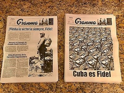 Two Granma Official Cuban Newspapers - 11/26/16 & 11/27/16 - Fidel Castro Death