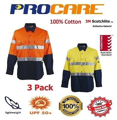 3 x Hi Vis Work Shirt + vents cotton drill 3M ref Tape ProCare long sleeves