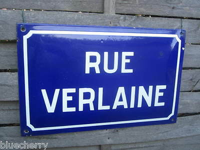 Amazing Old French Enameled STREET PLAQUE SIGN Poet VERLAINE WWII DDay