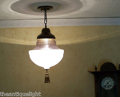 283 Vintage 1920's 30s Ceiling Light Lamp Fixture Glass Fixture Pendant  ReWired