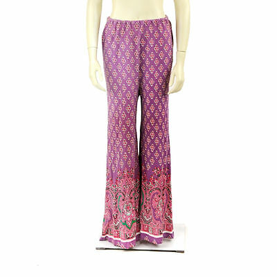 Vintage 70s Pale Purple + Pink High Waist Boho Hippie Abstract Op Art Pants S M