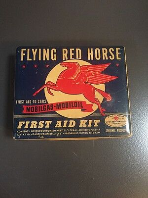 Vintage Flying Red Horse Mobil Oil First Aid Kit Contents Pegasus Gas Tin Litho
