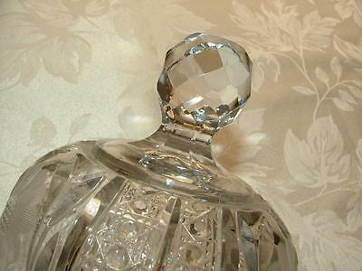 VINTAGE Ornate Cut Glass BUTTER DOME LID Round Cut Glass KNOB HANDLE