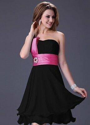 Black and pink formal chiffon party wedding guest dress size 8