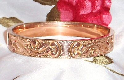 Signed Victorian Antique Rose Gold Gf Repousse Scroll Work Bangle Bracelet
