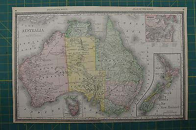 Australia Vintage Original 1892 Rand McNally World Atlas Map Lot