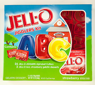 JELL-O Jigglers Kit - ABC- 26 Red Plastic Alphabet Cutters - New