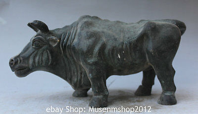 """14"""" Old Chinese Folk Fengshui Bronze Zodiac Year Strong Bull Oxen Stand Statue"""