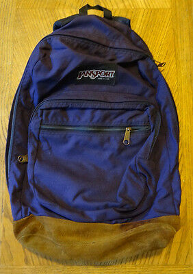 Vintage Purple Jansport Leather Bottom Backpack Made In The Usa
