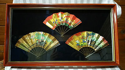 Vintage RARE Japanese Miniature Hand Painted Fans in Display Case