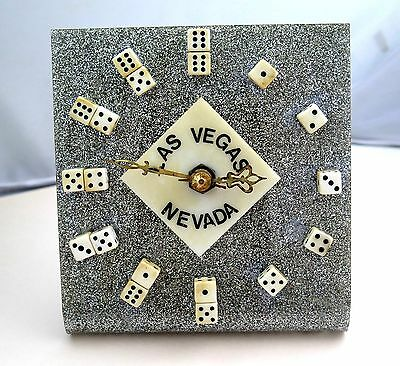 Vintage Las Vegas Nevada Dice Clock on Silver Metal Flace Lucite Small Size