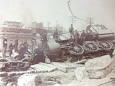 ANTIQUE ALBUMEN REAL PHOTO New York Central Railroad Train Wreck Chicago